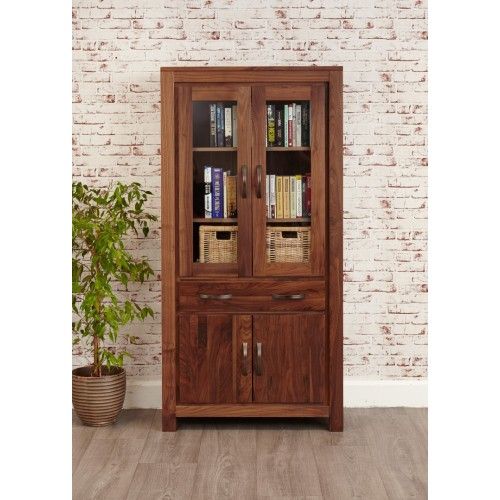 Mayan Walnut Large Glazed Bookcase