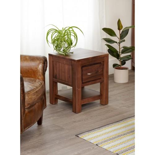 Mayan Walnut One Drawer Lamp Table