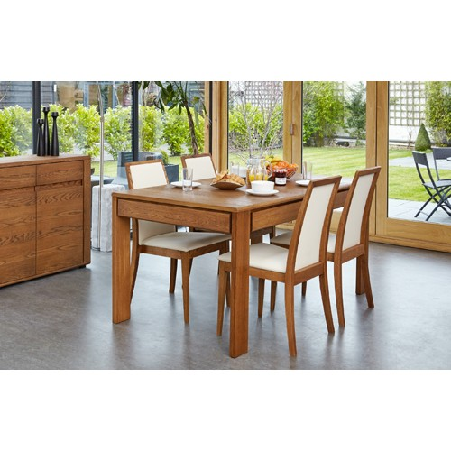 Olten - Extending Dining Table with drawer in Oak Finish