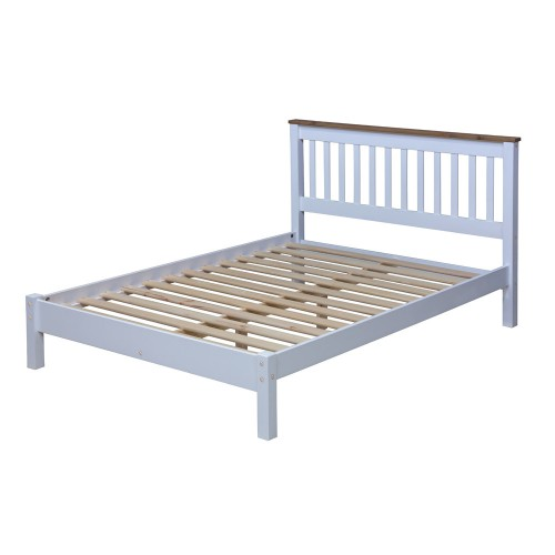 "4'6"" Slatted Lowend Bedstead Capri Waxed Pine & White"