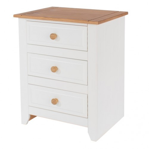 3 Drawer Bedside Cabinet Capri Waxed Pine & White