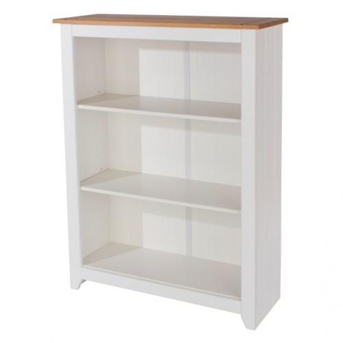Low Bookcase Capri Waxed Pine & White