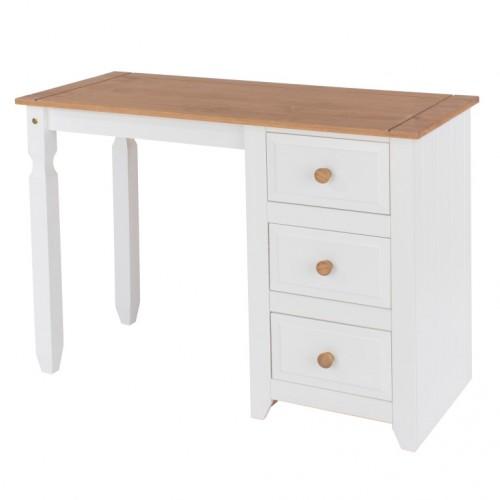 Single Pedestal Dressing Table Capri Waxed Pine & White