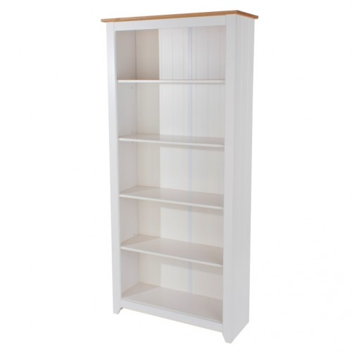 Tall Bookcase Capri Waxed Pine & White