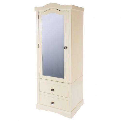1 Mirrored Door, 2 Drawer Wardrobe Quebec Cream Painted