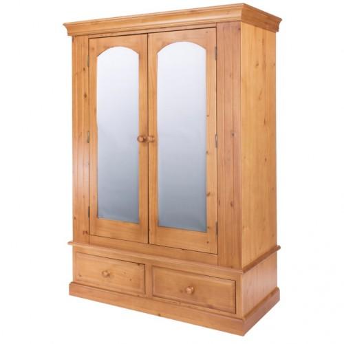 2 mirrored door, 2 drawer wide wardrobe Edwardian pine
