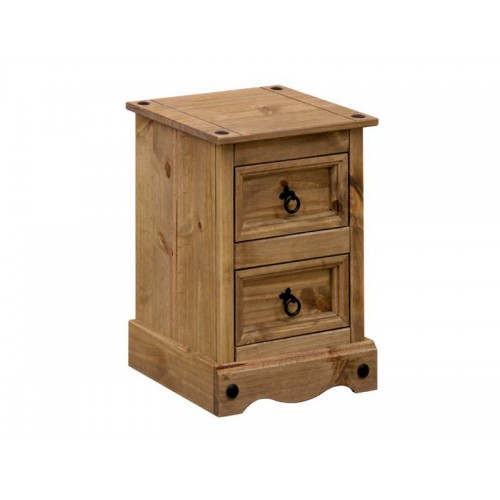 2 drawer petite bedside cabinet corona premium waxed pine