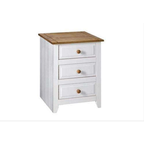 3 drawer bedside cabinet corona premium waxed pine