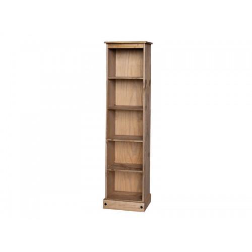 low narrow bookcase corona premium waxed pine