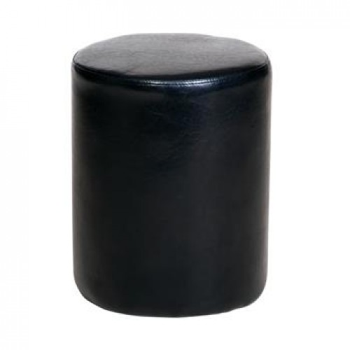 upholstered round stool in black faux leather