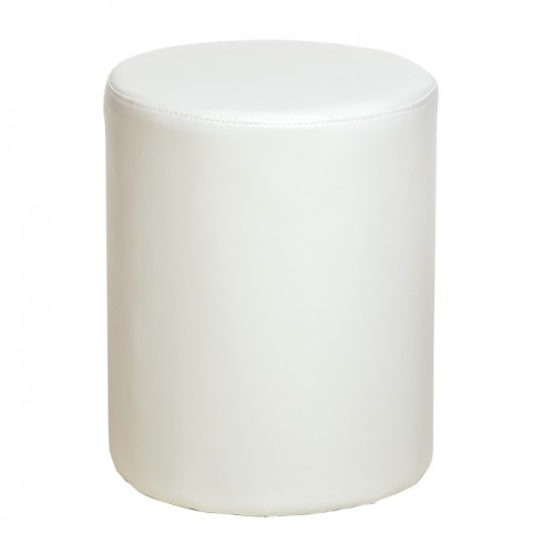 upholstered round stool in cream faux leather